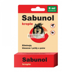 SABUNOL KROPLE PRZECIWPCHELNE 6ml dla psa o wadze 40-60kg