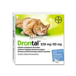 BAYER DRONTAL KOT TABLETKI 230 mg + 20 mg PUDELKO - 2 TABL.