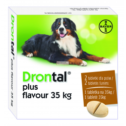 BAYER DRONTAL PLUS FLAVOUR 35 kg 525 mg + 504 mg + 175 mg PUDELKO - 2 TABL.